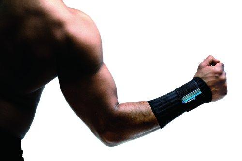 Rehband Herren Handgelenkbandage 7711, offen, mit zusätzlichem Stabilisierungsgurt, schwarz, M, links