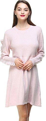 Vogueearth Donna's Lungo Manica Crew neck Knit Laciness Maglieria Sweater Vestito Pullover Nero