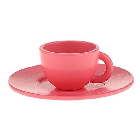 Miniature Set Tasse et Soucoupe Jouet Semblant Bois Jeux de Rôle Playhouse -Bleu/Rose - Rose