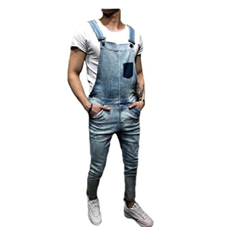 CuteRose Mens Jumpsuit Wash Denim Dungarees Jeans Tenths Pants Bib Overall Light Blue XS Insulated Bib Overall
