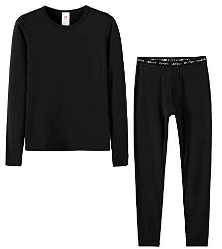 Lapasa bambino boy set intimo termico - ti tiene al caldo senza stress- t-shirt maniche lunghe & pantaloni invernali b03 (s(anni 6-6x), nero)