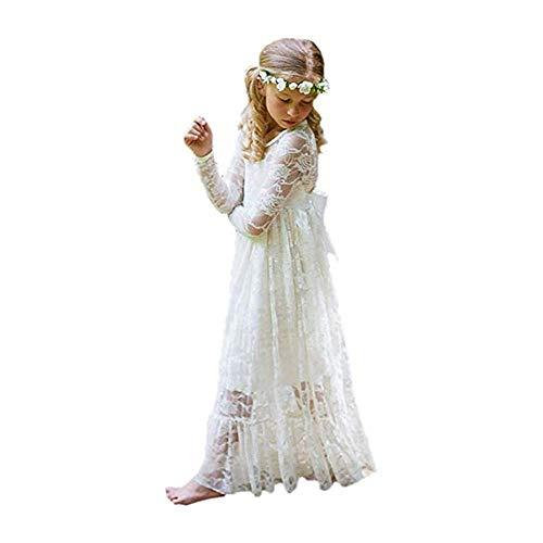Kostüm Kleid Vintage - XEJ Mädchen Prinzessin Kleid Spitzen BlumenMädchen Kleid Festkleid Lange Ärmel,Elfenbeinweiß, 90 cm (9-10 Jahre),(Herstellergröße 140)