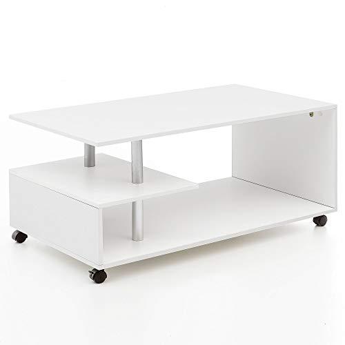 Tavolino Design 105 x 48,5 x 60 cm Bianco Ruotabile con Ruote ...