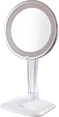 Harcas Schminkspiegel mit Lampen. Kosmetikspiegel mit LED-Beleuchtung und 10X Vergrößerung. Ideal zum Schminken, Rasieren, Zähneputzen, Augenbrauenzupfen und für das Badezimmer oder zum Reisen. Weiß
