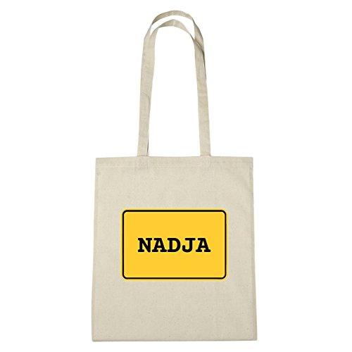 JOllify Nadja di cotone felpato b5798 schwarz: New York, London, Paris, Tokyo natur: Ortsschild