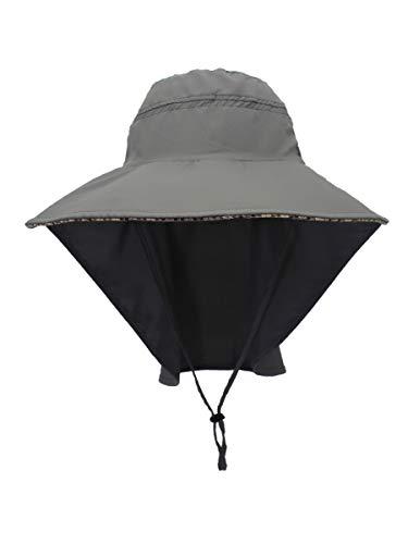 WANYING Unisex UV Schutz Sonnenhut mit 25cm Nackenschutz 11cm Großer Krempe Hut für Outdoor Aktivitäten Safari Angeln Camping Gartenarbeit - für Kopfumfang 56-60cm Dunkelgrau (Gartenarbeit Hat Womens)
