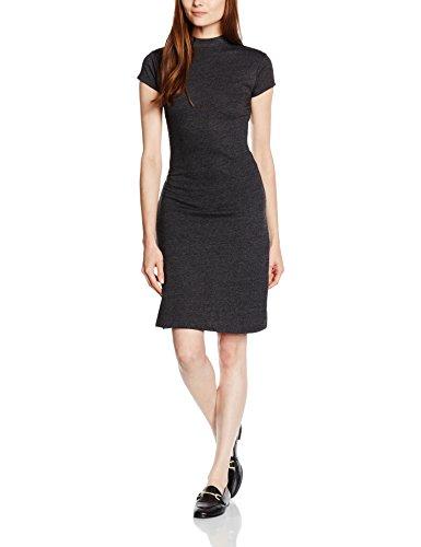 Kontrast Kragen Kleid Shirt (Intimuse Damen Kleid, Schwarz (Schwarz Melange 073), 38 (Herstellergröße: M))