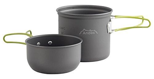 Andes Portable 1-2 Person Aluminium Camping Hiking Pot & Pan Cookware Set