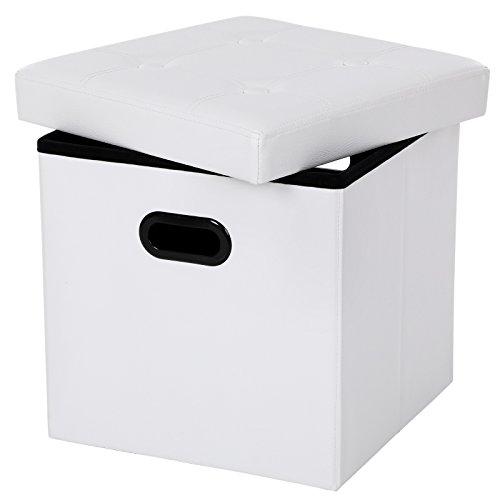 Songmics cassapanca pieghevole portatile con manici sgabello poggiapiedi contenitore cubico al lato di 38 cm carico portante al sedile fino a 300 kg bianco lsf30w