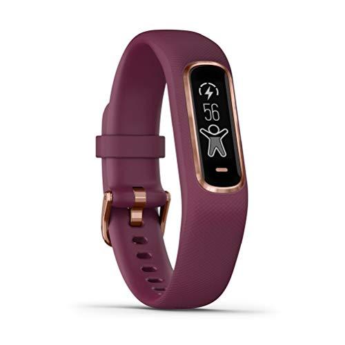 Garmin vívosmart 4 - Bracelet d'activité ultra-fin avec oxymètre de pouls et cardio poignet - Prune - Taille S/M