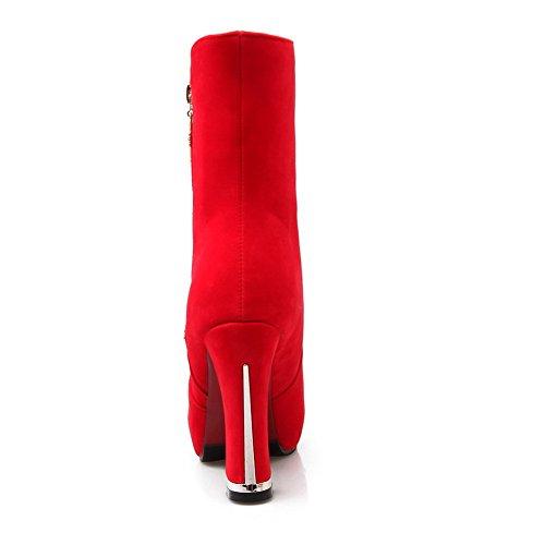 Odomolor Damen Rein Reißverschluss Mitte-Spitze Mattglasbirne Hoher Absatz Stiefel Rot