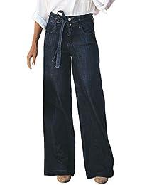 Sunenjoy Femme Jeans Large Jambe Taille Haute Pantalon Denim Ample Fluide  Harem Bouffant Casual Pants avec Ceinture Vintage Rétro Loose… 555186981ec
