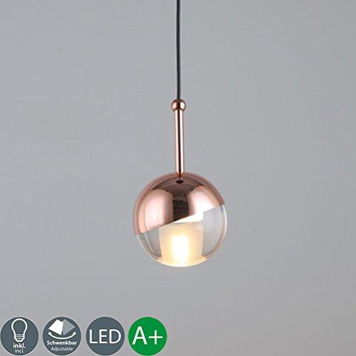 LED Pendelleuchte Deckenleuchte Kleiner Ball Modern Hängeleuchte Überzug Chrom Kupfer Metall Acryl Lampenschirm (Φ10cm )hoher Qualität Innenbeleuchtung Dekoration leuchtung 1*G4 (Warmweiß 7W 3000K) H200cm Höhenverstellbare [Energieklasse A++]
