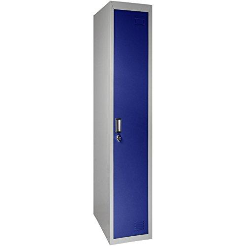 Garderobenschrank Spind in mehreren Ausführungen und Farben , Farbe:Grau-Dunkelblau;Spind-Variante:Doppelspind Flügeltüren