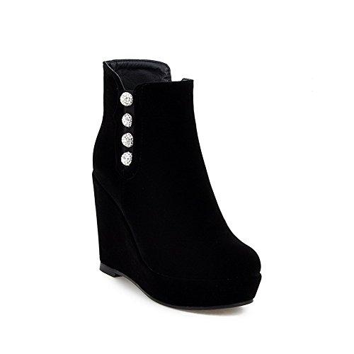 AllhqFashion Damen Rein Mattglasbirne Hoher Absatz Reißverschluss Stiefel mit Juwelen Schwarz