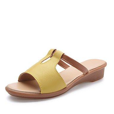zhENfu Donna Sandali Primavera Estate Autunno luce Comfort Suole Cuoio Outdoor Office & Carriera Casual Chunky Heel Split a piedi comune Yellow