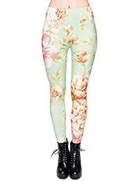 Leggings à motifs, legging jegging pour femme jeune fille sexy lady girl pantalon caleçons moulants imprimé sportifs féminins qui vont de la taille aux chevilles collants sans pieds ou caleçon, choisir:LEG-074 Fleurs menthe