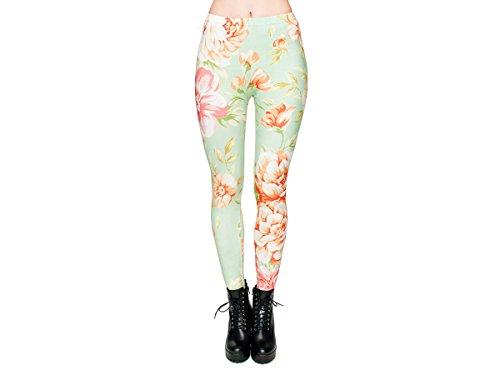 Leggings Damen Bedruckt Sexy Leggins Ladies mit Print Look Motiv Muster Stretch Legins Hose von Alsino, Variante wählen:LEG-074 Blumen mint