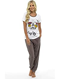 Womens Pyjamas Pjs for Women Sets Ladies Cotton Pyjamas Womens Pajama Nightwear Sleepwear Loungewear 8-22 Pug Minnie Mouse Penguin Cats Lounge Wear