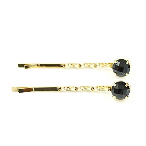 rougecaramel - Accessoires cheveux - Mini pince fantaisie métal doré 2pcs - noir