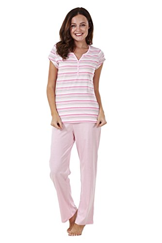 - 31WOjLwAMvL - Ladies Short Sleeve 100% Cotton PJ'S Set Nightwear Womens Pyjamas