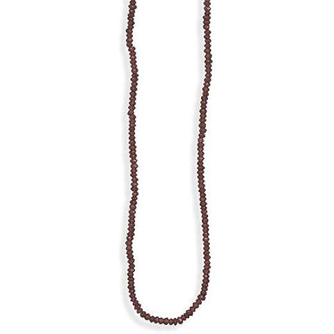 Sterling Argento 16Pollici + 2pollici estensione 3,5mm–4mm sfaccettato granato collana di perline
