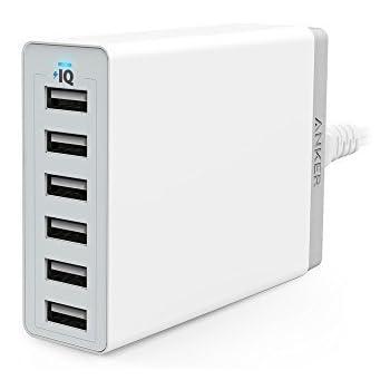 Anker Caricatore USB da Tavolo 6 Porte 60W PowerPort 6 - Alimentatore Multi-Porta con Tecnologia PowerIQ per iPhone, iPad, Samsung, Nexus, HTC, Nokia, Motorola e Molti Altri