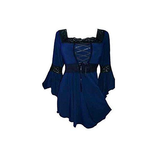 lancoszp Blusa Gotica de Steampunk de Las Mujeres Corse Ajustado de La Vendimia Azul, L