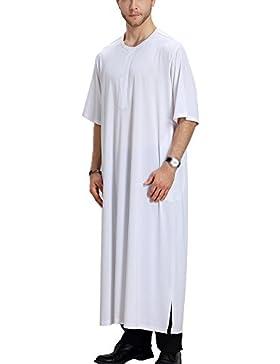 Bmeigo Hombre Musulmán Kurta Arabic Robe Islamic Thawb Jubba Middle Eastern Thobe