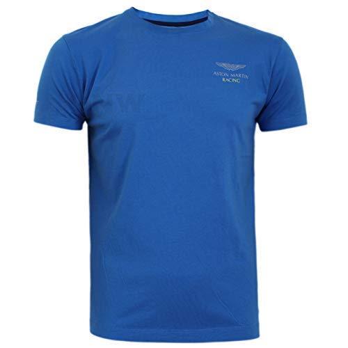 Hackett Uomo Aston Martin Racing Wing T Shirt Manica Corta, Maglietta Regular Blu Polvere, M