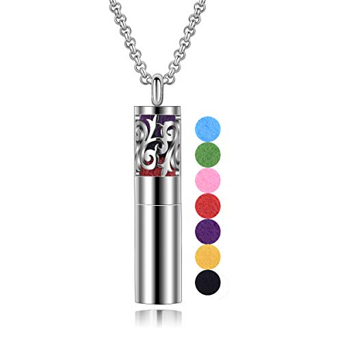 INFUSEU Aromatherapie ätherisches Öl Diffusor Container Halskette mit 18 Stück Ersatz-Pads für Frauen, Edelstahl Medaillon Schmuck, Muttertags-Geburtstagsgeschenk (öl-schmuck ätherisches)