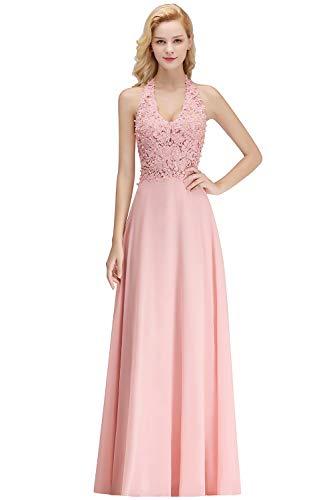 MisShow Damen Elegant Abendkleid Spitze Ballkleid Chiffon Kleid Rückenfrei Lang Rosa 34