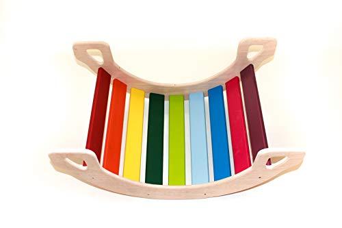 la mecedora el balancin arco iris madera natural Balancín Columpio gi