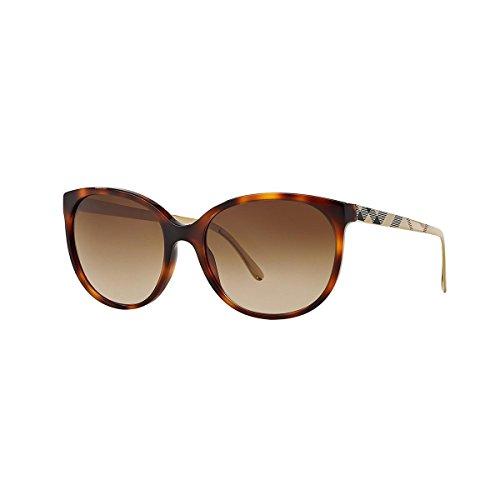 Herren Von Für Burberry Sonnenbrille (BURBERRY Unisex Sonnenbrille BE4146, Mehrfarbig (Gestell: Havana, Gläser: Braun-Verlauf 340713), Medium (Herstellergröße: 55))
