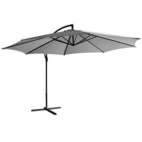 Jalano Sonnenschirm freischwebend in 7 Farben Ampelschirm 350 cm Durchmesser, Gartenschirm inkl. Schutzhülle und Fusskreuz - höhenverstellbarer Kurbelschirm (Grau)