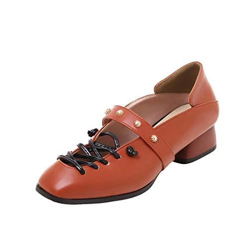 SEHRGUTGE Damen Retro Mary Jane Mokassins Schuhe, Schlichte Closed Toe Loafers, stilvolle Cross Riemchen Nieten Leder Cone Heel Pumps (Schwarze Riemchen Mädchen Kostüm Heel Schuhe)