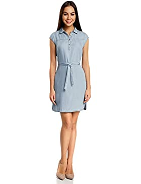 oodji Collection Donna Abito Camicia in Lyocell