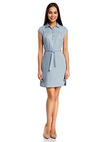 oodji Collection Damen Lyocell-Hemdkleid, Blau, DE 38 / EU 40 / M (Flip Flop Kleid)