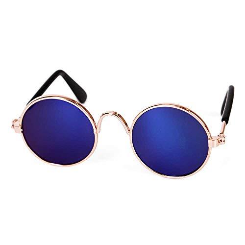 AOLVO Cool Classic Retro Pet Sonnenbrille, stilvolle und lustige niedliche Haustier-Sonnenbrille mit Retro runden Metallbrillen, geeignet für Katzen und kleine Hunde