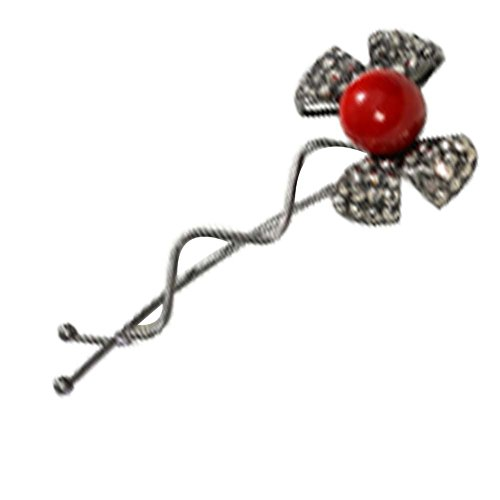Diamant Fashion Red Bow Hairpin Coiffe de 3 Pcs Lady