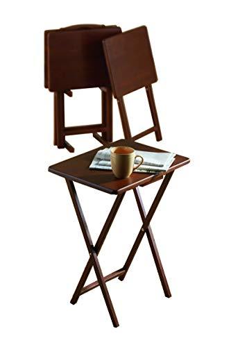 PJ Wood 5-Piece pliant Tv Plateau de table & Snack Noyer