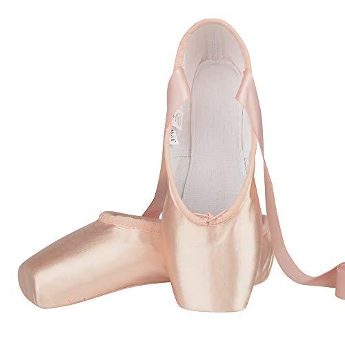 Chaussure de Danse de Pointe Chaussures de Ballet en Satin Rose avec Capuchons d'orteils Protecteurs et Ruban pour Femme Fille