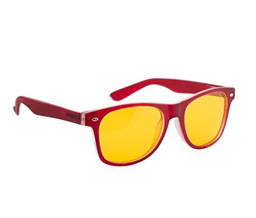 4sold Nacht Driving Gelb Linsen Brille, Schildpatt-Braun Füllend, Ganz UV400 Schutz. Männer, Frauen, Unisex Aviatorstil (Rubi Maroon Night)