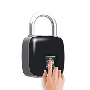Cadenas d'empreinte digitale, Smart sans clé Cadenas étanche USB rechargeable Verrou de porte, convient pour numéro de porte, Valise, Sac à dos, gym, vélo, bureau