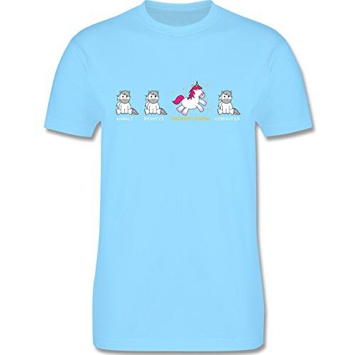 Shirtracer Sonstige Berufe - Kinderpflegerin Einhorn - Herren T-Shirt Rundhals Hellblau