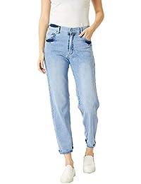 Miss Chase Women's Light Blue Wide-Leg High Rise Jeans