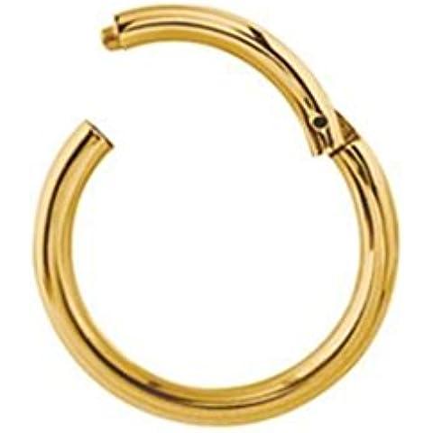 Gekko Body Jewellery titanio placcato oro Anello segmento incernierato setto Clicker Piercing Cerchio–1,2mm x 10mm