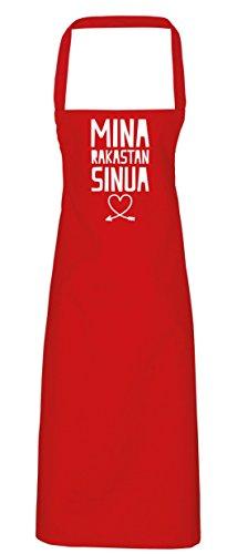 hippowarehouse Mina rakastan sinua (I Love You) Schürze Küche Kochen Malerei DIY Einheitsgröße Erwachsene, rot, Einheitsgröße (Kleidung Mina)