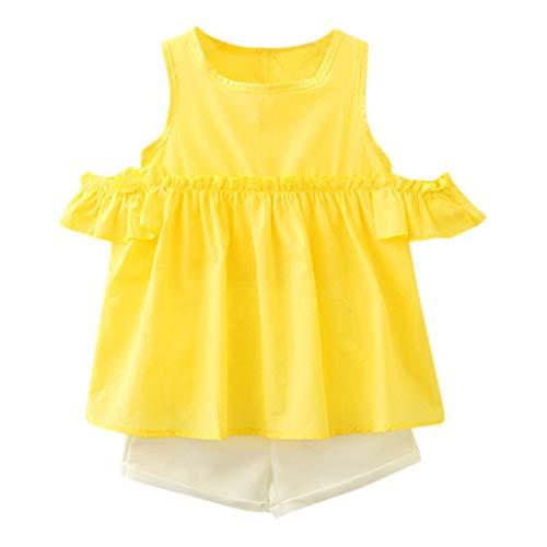 CUTUDE Kleinkind Baby Mädchen Säugling Langarm T-Shirt + Shorts Outfits Set Falbala Ärmellos Outfit Kleidung