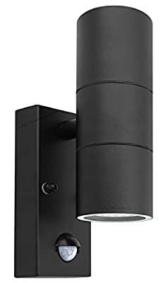 Black PIR Stainless Steel Double Outdoor Wall Light With Movement Sensor IP44 Up/Down Outdoor Wall Light from Zenon Lighting Collection by Long Life Lamp Company